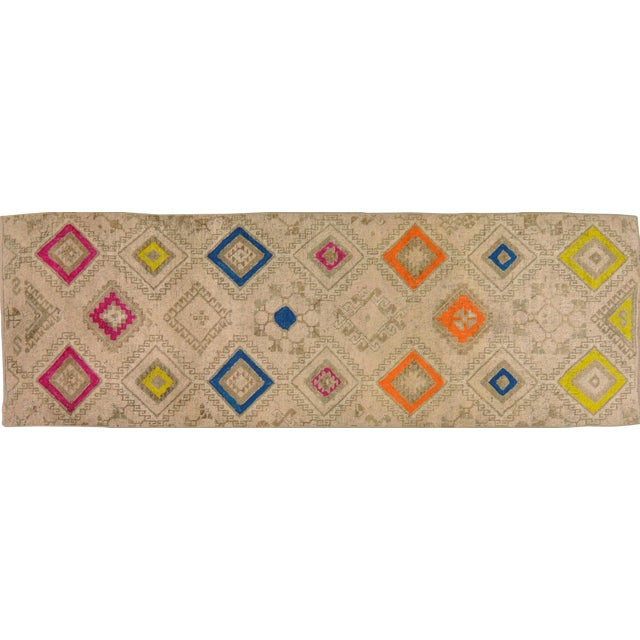1950s Contemporary Tan Patterned Wool Rug, 3'4''x10' For Sale