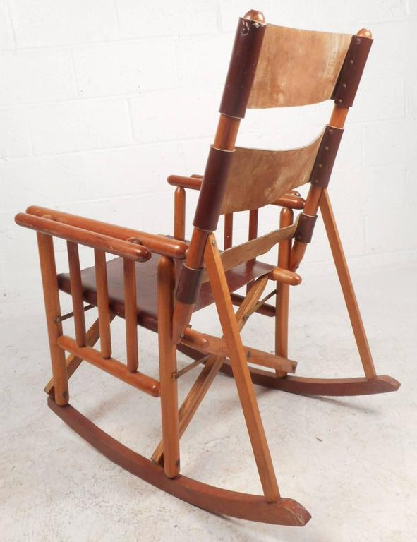 Mid Century Modern Costa Rican Leather Campaign Folding Rocking Chair    Image 4 Of 10