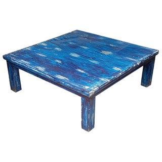 Moroccan Wooden Bleach Blue Coffee Table For Sale