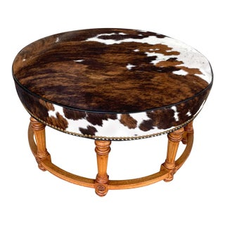 Cowhide Ottoman by Hancock and Moore For Sale