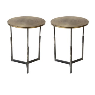 Two Custom Steel and Brass Side Tables For Sale
