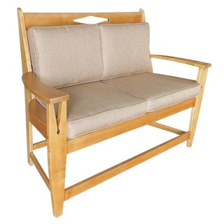 Blonde Wood Sofa With Clothespin Shaped Accents For Sale