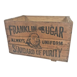Vintage Industrial Wood Shipping Crate - Benjamin Franklin