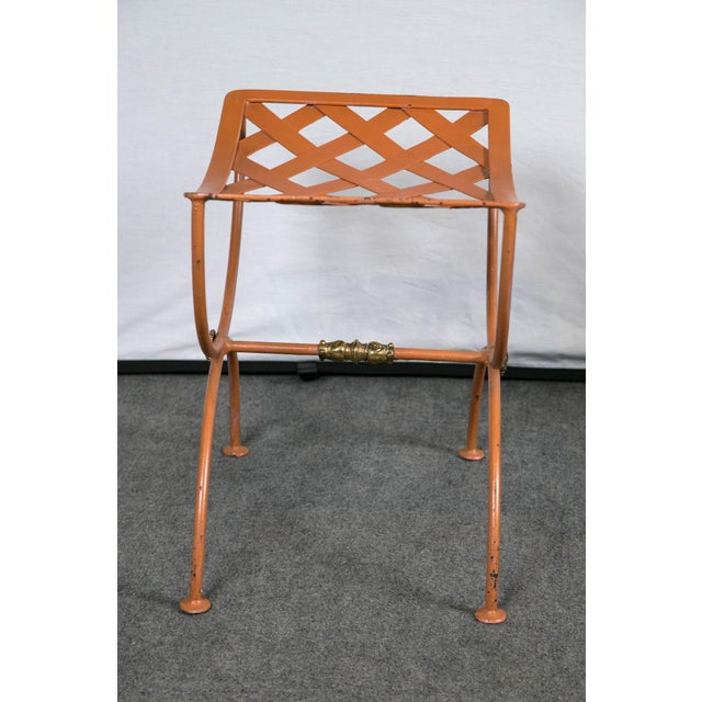 Orange Jean Charles Moreux Burnt Orange Tole Benches - a Pair For Sale - Image 8 of 9