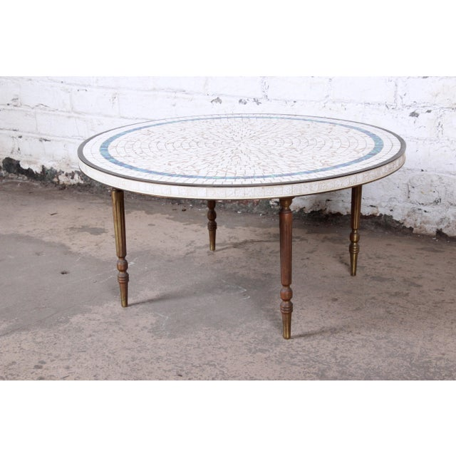 An exceptional mid-century modern mosaic tile coffee or cocktail table Imported by Luberto NYC Italy, 1950s Ceramic tile...