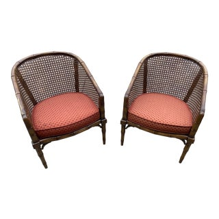 Bamboo Caned Back Barrel Chairs - a Pair For Sale