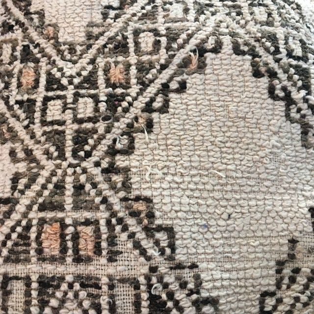 Cream & Brown Moroccan Floor Pouf - Image 3 of 4