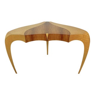 Sculptural Studio Single Drawer Desk or Console of Curly Maple, Rosewood & Ebony For Sale