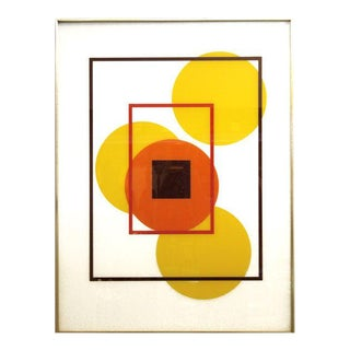 Mid Century Geometric Reverse Painted Silk Screen Painting For Sale
