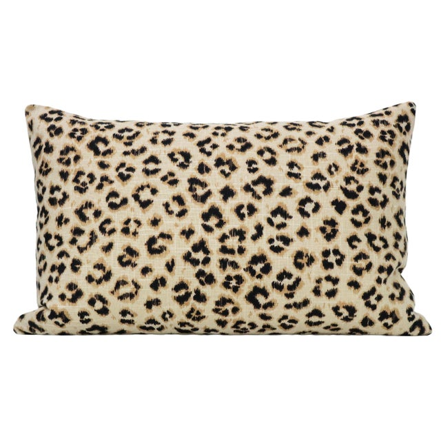 Pair of custom-made pillows in Leopard Linen the Ebony colorway. Same sided with pattern on the front and back....