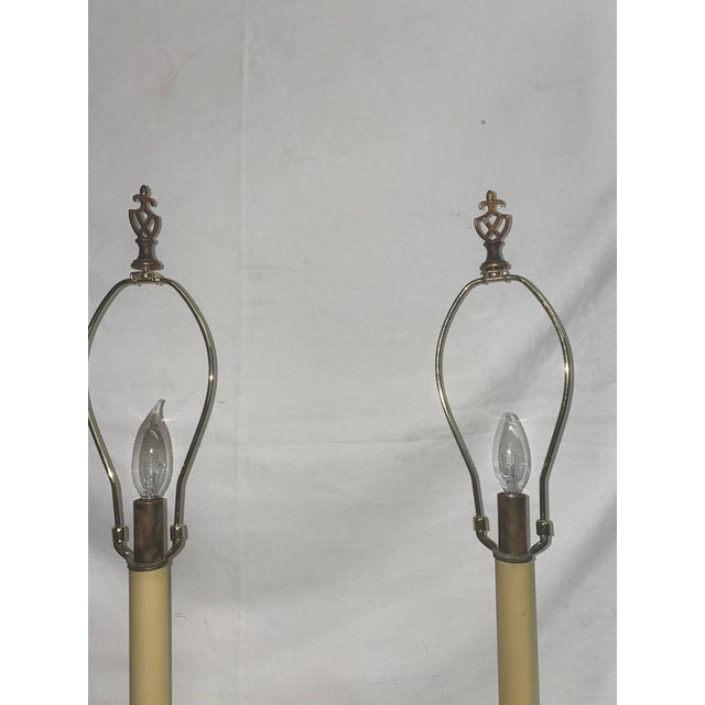 American Tall Solid Brass Table Lamps - a Pair For Sale - Image 3 of 6