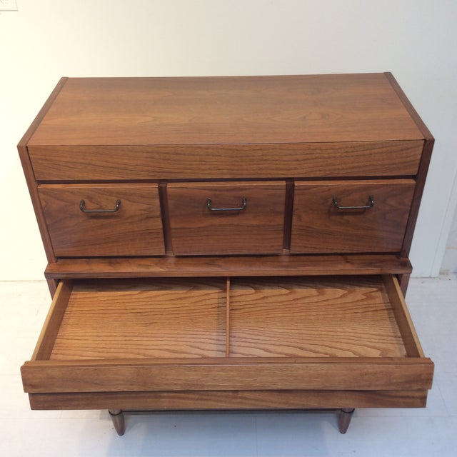 "1970s 1970s Mid-Century Modern Merton Gershun for American of Martinsville ""Dania"" Highboy Tall Chest For Sale - Image 5 of 13"
