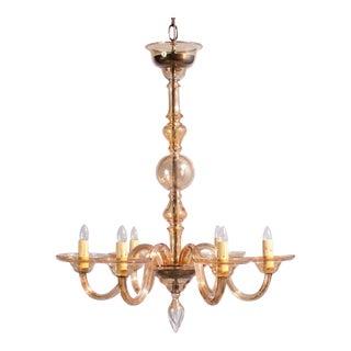 1940s Italian Amber Glass Murano Chandelier