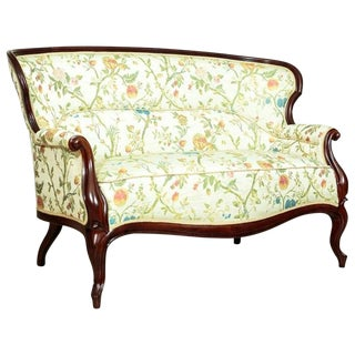 Louis Philippe Mahogany Sofa in a New Upholstery, circa 1870 For Sale