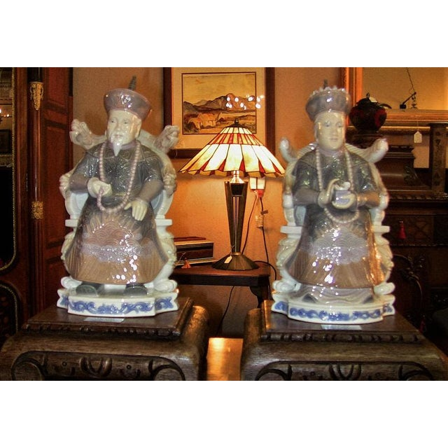 Lladro Retired Figurines of Chinese Nobleman and Noblewoman - Very Rare- A Pair For Sale - Image 12 of 12