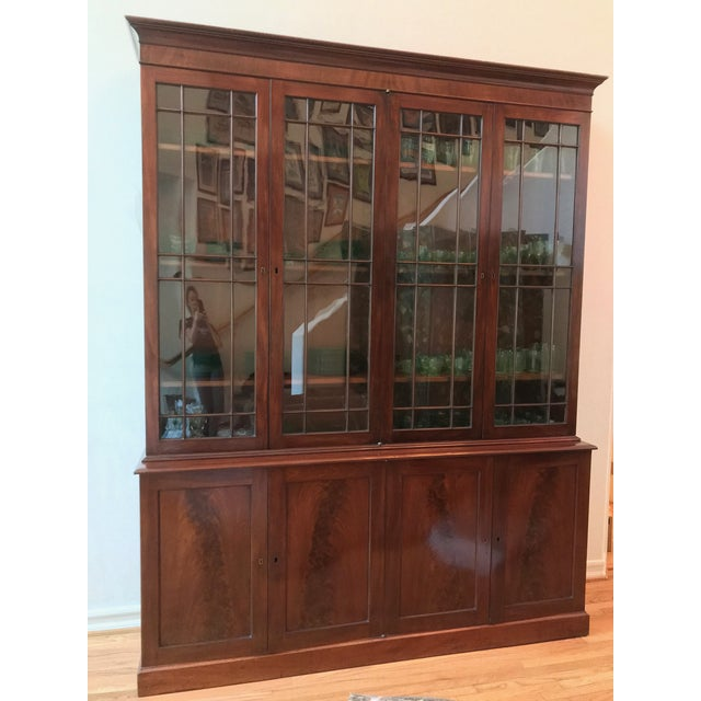 Glass George III Style Mahogany Bookcase Cabinet For Sale - Image 7 of 13