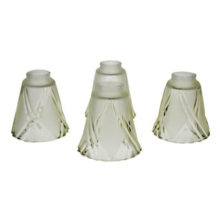 French Art Deco Frosted to Clear Cut Glass Lamp Shades - Set of 4