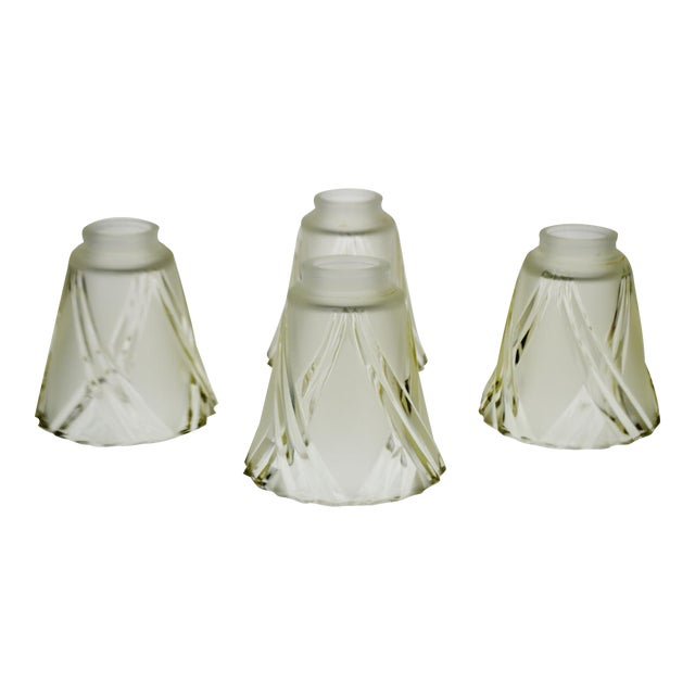 French art deco frosted to clear cut glass lamp shades set of 4 french art deco frosted to clear cut glass lamp shades set of 4 aloadofball Image collections