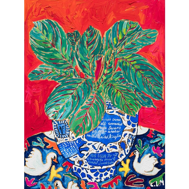 Green and Pink Prayer Plant on Red and Orange in Blue and White Lions, Tigers and Bears Pot on Swan Floral Cloth Painting For Sale