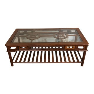 Rosewood Chinoiserie Style Coffee Table For Sale
