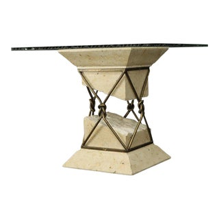 Travertine Stone Wrought Iron Suspended Top Scalloped Glass Coffee Center Table For Sale