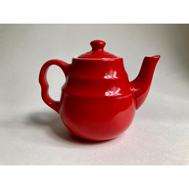 Red Universal Cambridge Red Ceramic Beehive Tea Pot For Sale - Image 8 of 13