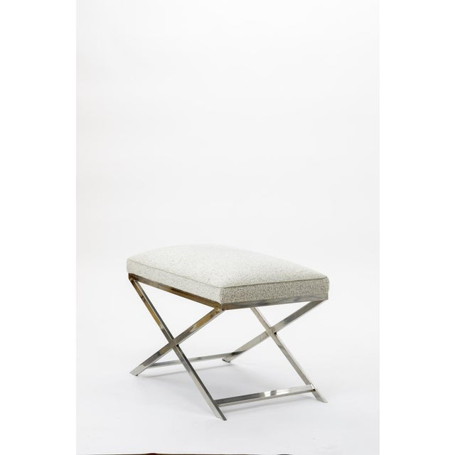 Contemporary X Shaped Steel Stool Newly Covered in Maharam Cloth For Sale - Image 3 of 7