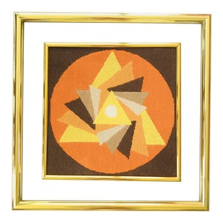 Mid Century Modern Glass Framed Needlepoint Abstract Triangles Brown Orange Brass