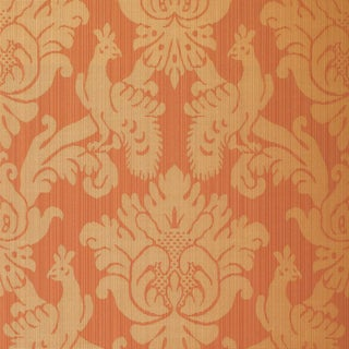 Sample - Schumacher Valette Strie Damask Wallpaper in Garnet For Sale