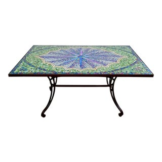 Boho Chic Mosaic Fleur-De-Lis Sunburst Tile Top Table For Sale