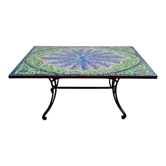 Boho Chic Mosaic Fleur-De-Lis Sunburst Tile Top Table For Sale