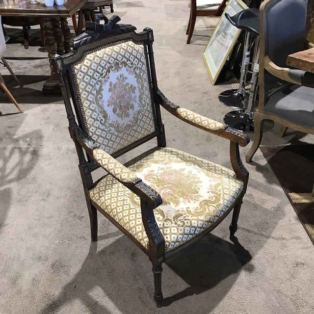 Antique Embroidered Floral Armchair For Sale - Image 10 of 10