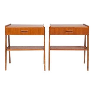 Vintage Danish Modern Teak Nightstands - Pair For Sale