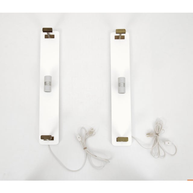 Brass 1960s Mid-Century Modern Brass and Glass Sconces - a Pair For Sale - Image 7 of 8