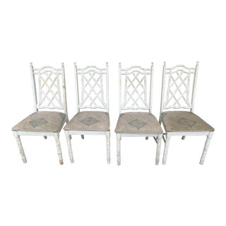 1960s Vintage Chinese Chippendale Chinoiserie Faux Bamboo Dining Chairs - Set of 4 For Sale