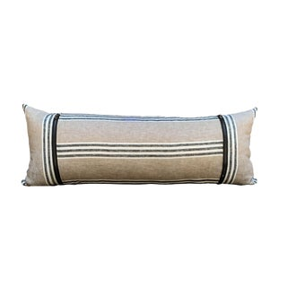 Contemporary Natural Linen Lumbar Pillow With Stripes For Sale