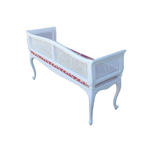 French Caned Satin White Settee - Image 7 of 7