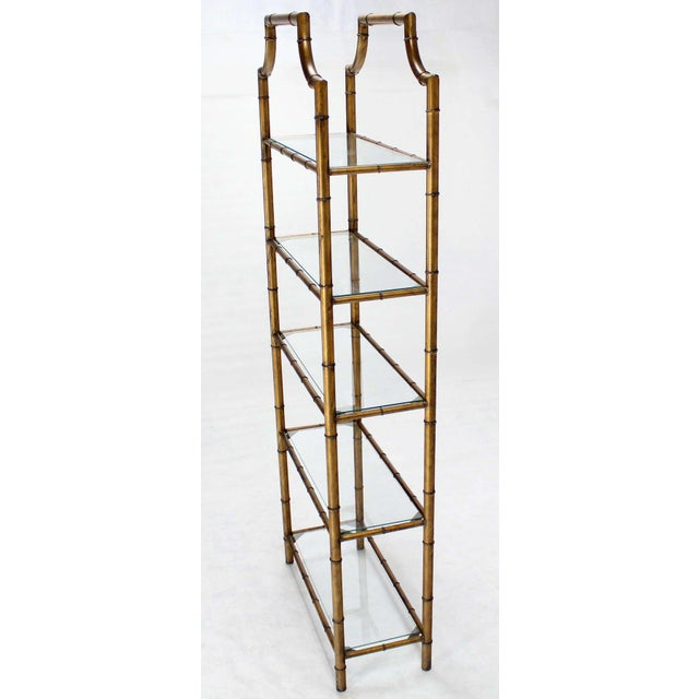 Mid-Century Modern Five-Tier Faux Bamboo Etagere Shelving Unit For Sale - Image 9 of 10
