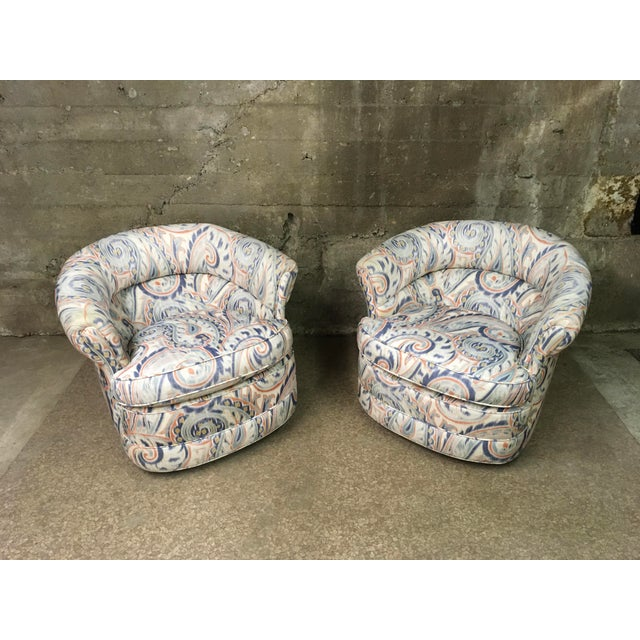 1990s Vintage Custom Sculptural Swivel Club Chairs- A Pair For Sale - Image 10 of 10