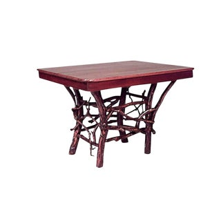 American Rustic Adirondack Style Twig Base Rectangular Dining Table For Sale