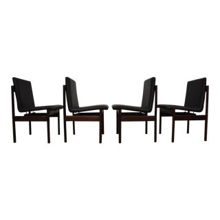 Brazilian Jacaranda Leather Dining Chairs - Set of 4