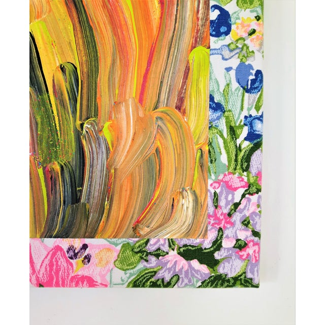 """Textile Contemporary Abstract Floral Acrylic on Vintage Textile by Frances Sousa, """"Harley, David, Jean"""" For Sale - Image 7 of 9"""