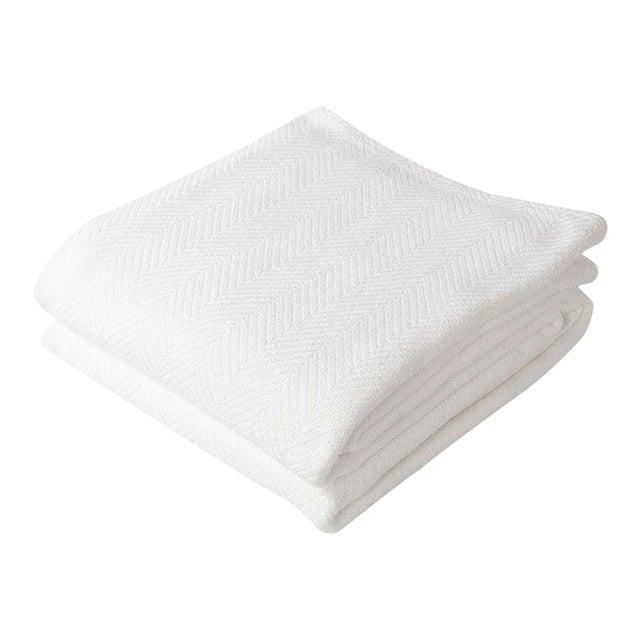Contemporary Herringbone Blanket Bright White Twin Blanket For Sale