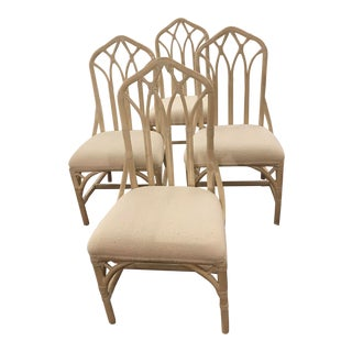 1960s Off White Rattan Cathedral Back Chairs - Set of 4 For Sale