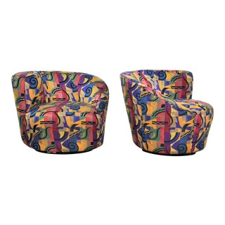 Pair of Asymmetric Nautilus Swivel Chairs in Style of Vladimir Kagan For Sale