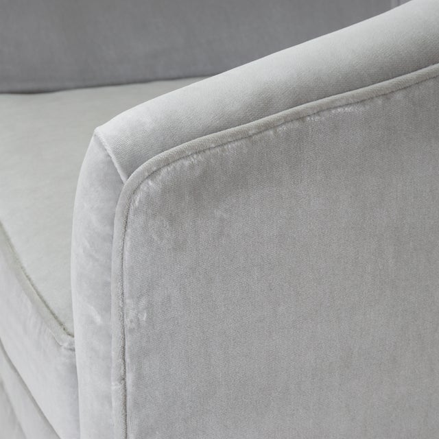 Textile Swivel Tub Chairs in Dove Velvet, Pair For Sale - Image 7 of 8