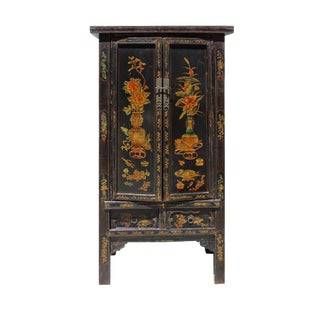 Chinese Vintage Golden Color Floral Graphic Dresser Cabinet