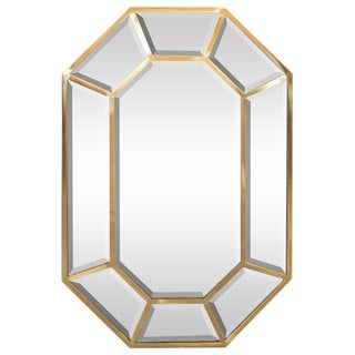 Mid-Century Modern Segmented Octagonal Polished Brass Mirror For Sale