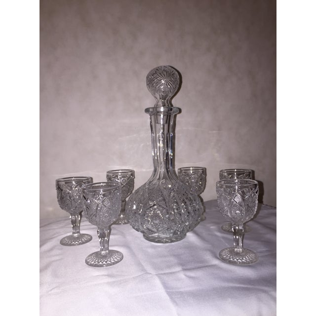 American Classical Vintage Pressed Glass Decanter With Goblets Wine Set For Sale - Image 3 of 12
