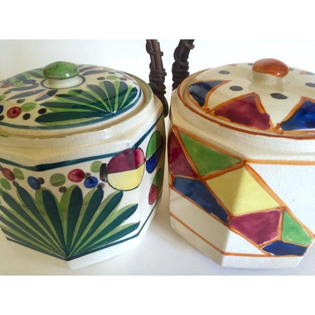Various Artists Rare Vintage 1930's Art Deco Japan Hand Painted Porcelain Handled Ceramic Biscuit Barrel Jars - Set of 2 For Sale - Image 4 of 13